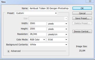 Membuat Tulisan 3D Dengan Photoshop  1